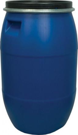 Бочка п/э 127л с крышкой на обруч синяя