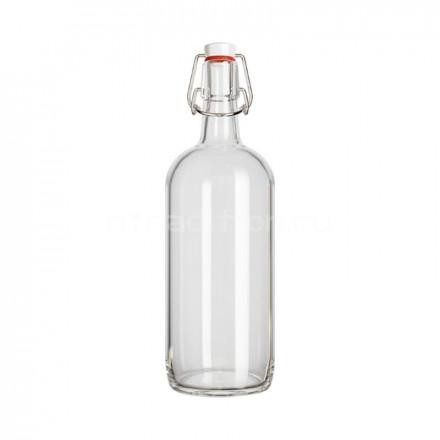 Бутылка под бугельную пробку Бомба, 1 л. (ПРОЗРАЧНАЯ)