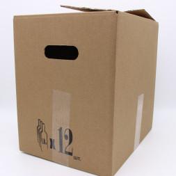 Коробки (340х265х345) для бутылок 1л.с ручками Бурый (12шт.)