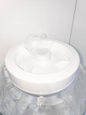 Банка 15 литров с гидрозатвором (Россия, белая крышка)