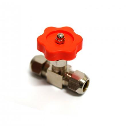 Кран игольчатый латунь под трубку 8 мм